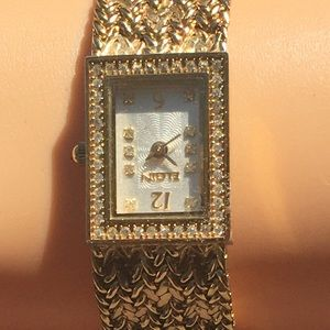 YG Tone no tarnish Elgin Diamond Watch adjustable